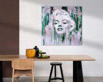 Marilyn Monroe Abstrakt Green Pop Art von Felix von Altersheim