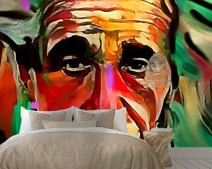 Sfeerimpressie behang: Albert Einstein PUNK Classic Pop Art PUR  van Felix von Altersheim