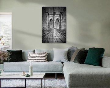 NEW YORK CITY, Brooklyn Bridge | zwart-wit  van Melanie Viola