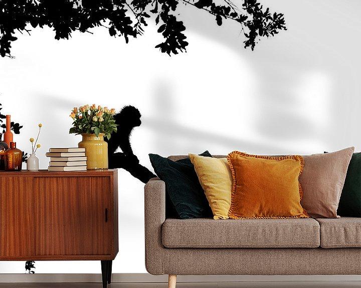 Sfeerimpressie behang: Silhouet van aap van Richard Guijt Photography