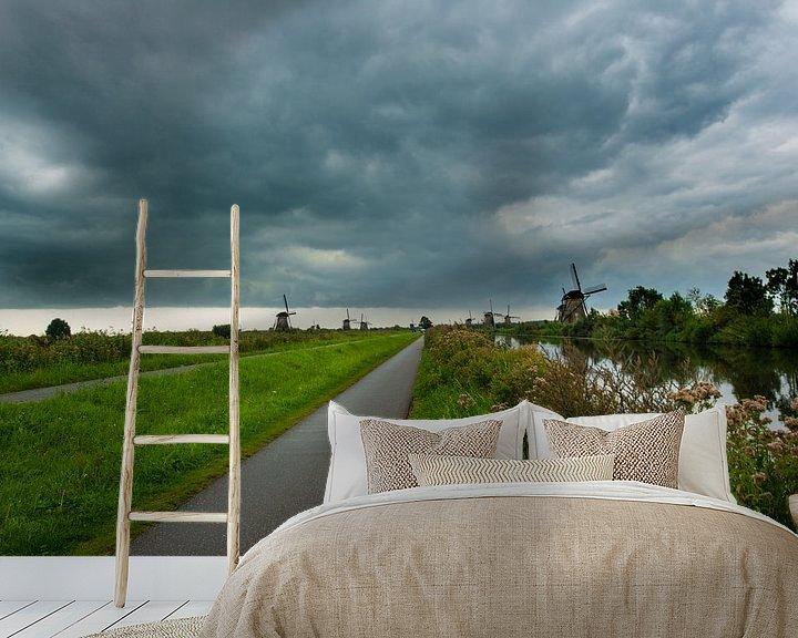 Sfeerimpressie behang: Kinderdijk Zuid Holland van Brian Morgan