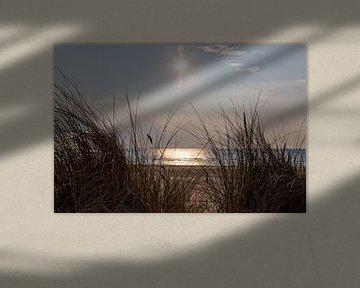 Photo du beau coucher de soleil vu des dunes. Quelque part le long de la côte néerlandaise.