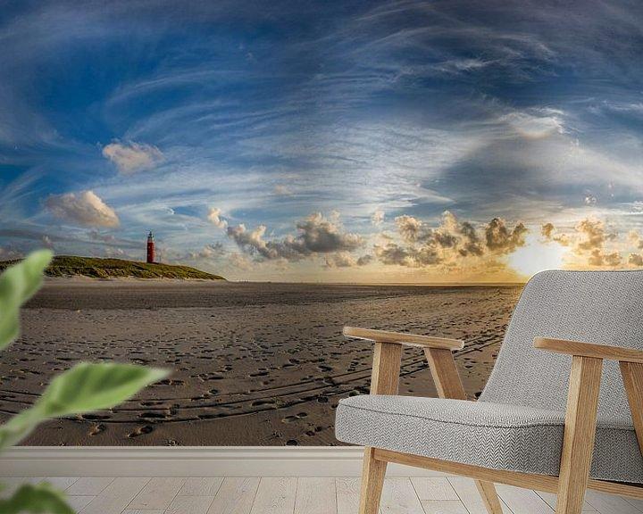 Sfeerimpressie behang: Vuurtoren Eierland met circumenzenitale boog van Texel360Fotografie Richard Heerschap
