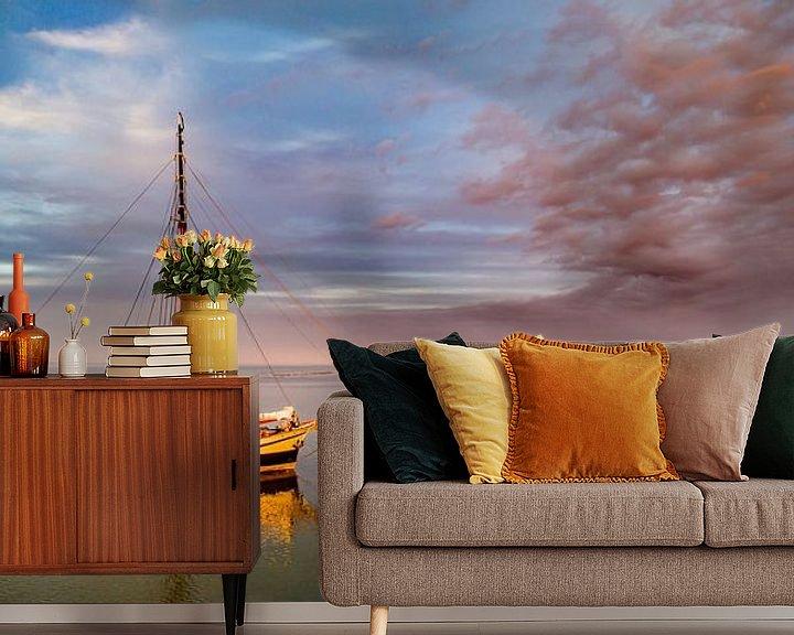 Sfeerimpressie behang: Haven van Sil Texel wachten op hoog water van Texel360Fotografie Richard Heerschap