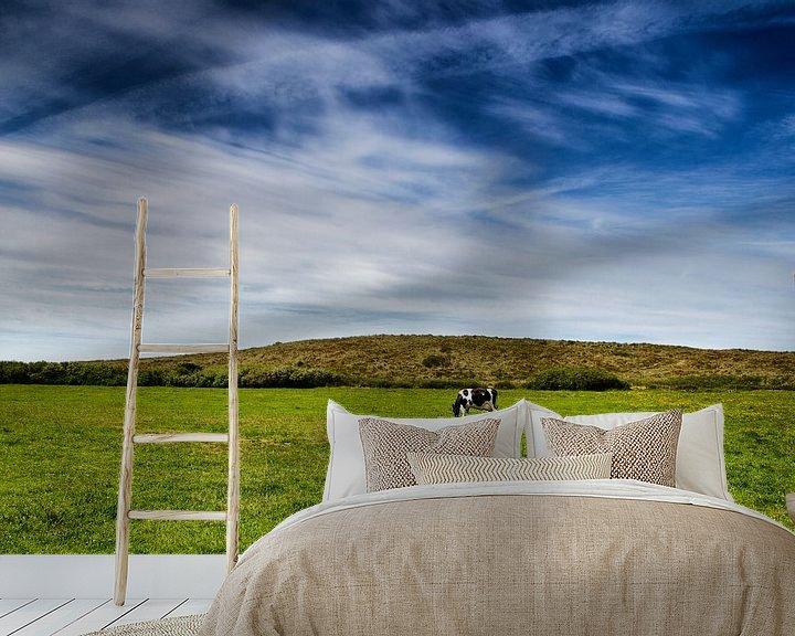 Beispiel fototapete: Wijds Terschellings landschap: blauwe hemel, groen gras en 1 koe von Paul Teixeira