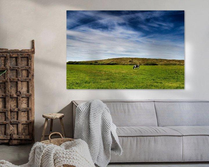 Beispiel: Wijds Terschellings landschap: blauwe hemel, groen gras en 1 koe von Paul Teixeira