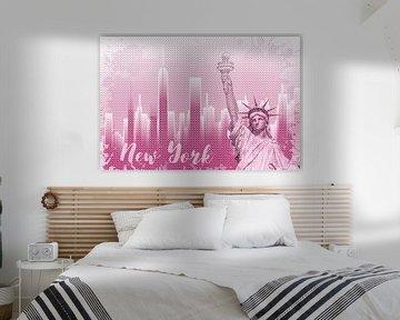 Graphic Art NEW YORK Mix No. 1 | pink | splashes van Melanie Viola