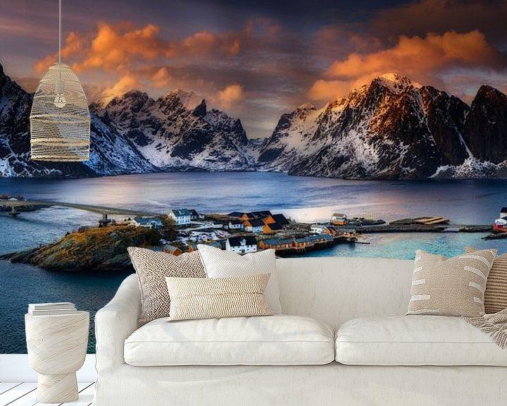 Beispiel fototapete: Lofoten Norwegen Panorama - Reine (Moskenes) von Sven Broeckx