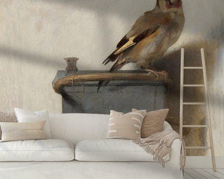Sfeerimpressie behang: 'Het puttertje', Carel Fabritius