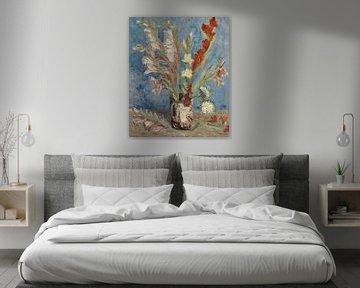 Vase mit Gartenladiolen und chinesischen Astern - Vincent van Gogh