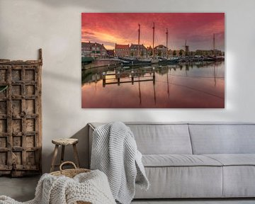Zonsondergang in oude haven Hellevoetsluis von Rob Kints