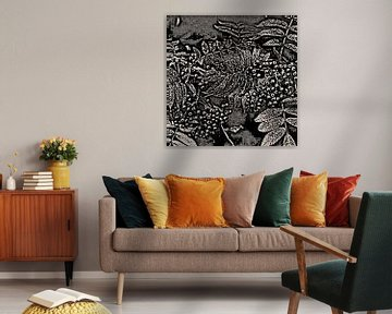 Abstract Autumn Berries In Black And White von Gitta Gläser