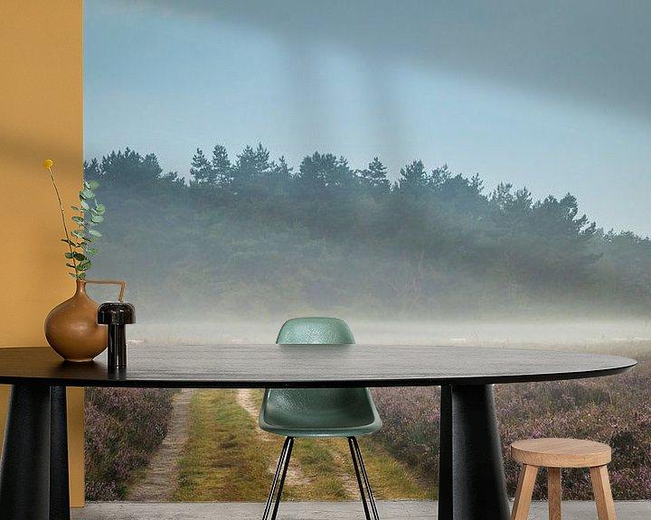 Beispiel fototapete: Karawane Heide-Schafe im Nebel von Gerrit Veldman