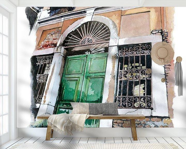 Sfeerimpressie behang: Oude deur in Venetië - Aquarel schilderij van WatercolorWall