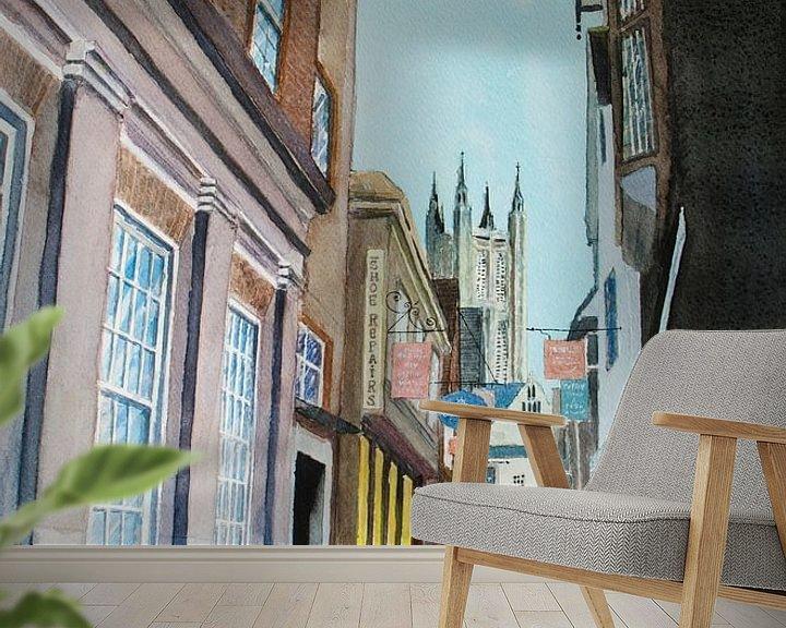 Sfeerimpressie behang: Canterbury - Aquarel schilderij van WatercolorWall