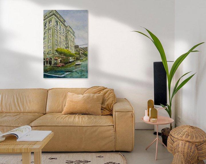 Sfeerimpressie: San Francisco Powell Street - Aquarel schilderij van WatercolorWall