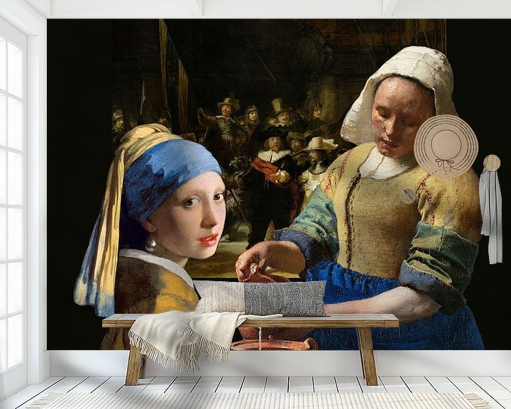 Beispiel fototapete: Das Mädchen mit dem Perlenohrgehänge - das Milchmädche - Johannes Vermeer von Lia Morcus
