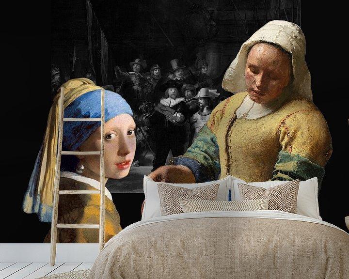 Sfeerimpressie behang: Melkmeisje - Meisje met de parel - de Nachtwacht zwart-wit van Lia Morcus