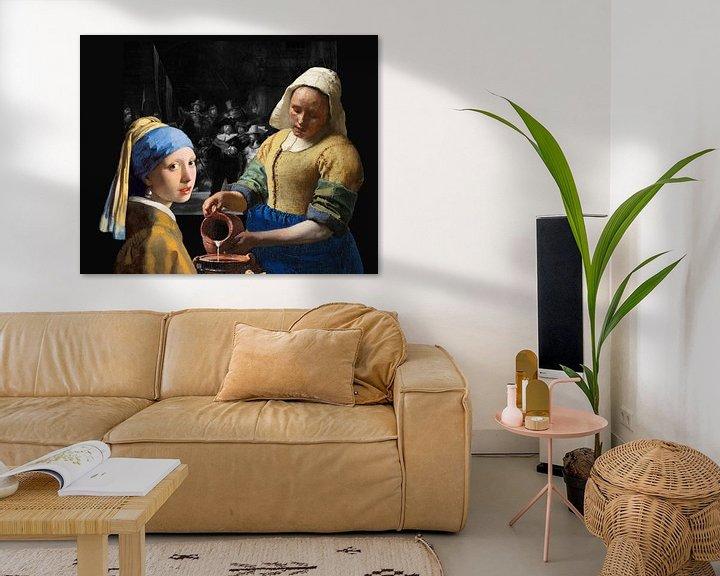 Sfeerimpressie: Melkmeisje - Meisje met de parel - de Nachtwacht zwart-wit van Lia Morcus