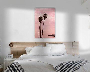 Palmen bei Sonnenuntergang Santa Cruz Pier, Kalifornien, USA,  von Ronald Tilleman