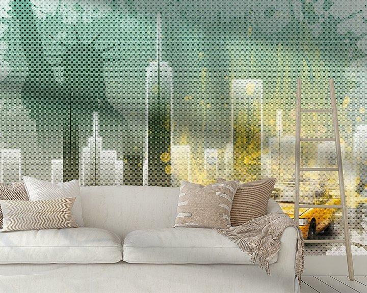 Beispiel fototapete: Graphic Art NEW YORK Mix No. 6   green and yellow   splashes von Melanie Viola