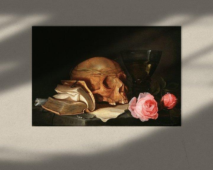 Beispiel: Jan Davidsz. de Heem. Ein Vanitas Stillleben mit einem Schädel, ein Buch und Rosen