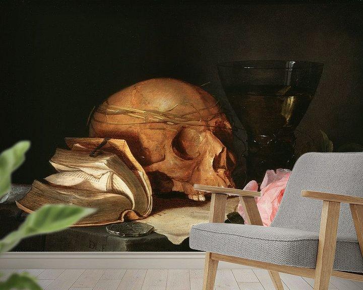Beispiel fototapete: Jan Davidsz. de Heem. Ein Vanitas Stillleben mit einem Schädel, ein Buch und Rosen
