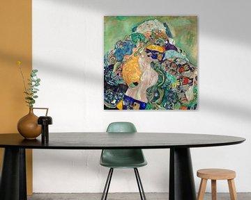 Gustav Klimt. Baby in der Wiege