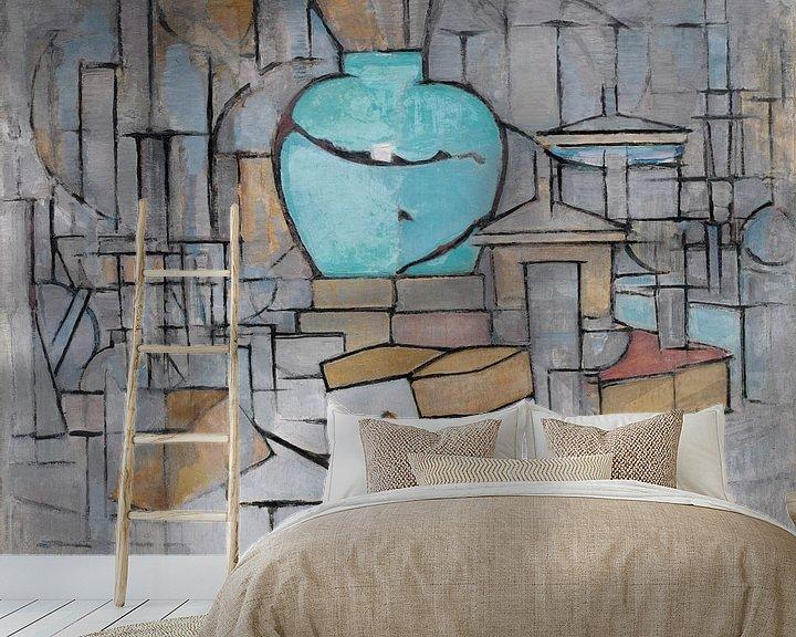 Sfeerimpressie behang: Piet Mondriaan. Stilleven met gemberpot