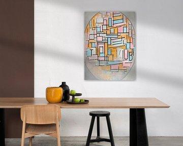 Piet Mondriaan. Compositie in ovaal met kleurvlakken