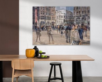 Bewegung auf dem Damm in Amsterdam von Dennisart Fotografie