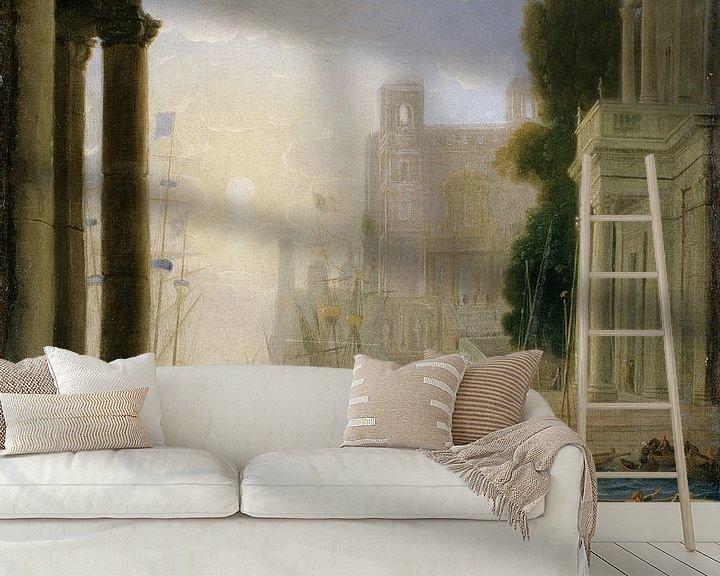 Sfeerimpressie behang: Claude Lorrain. Inscheping van St. Paula
