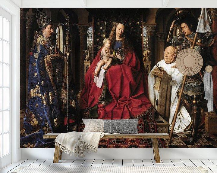 Sfeerimpressie behang: Jan Van Eyck - Aanbidding van Maria