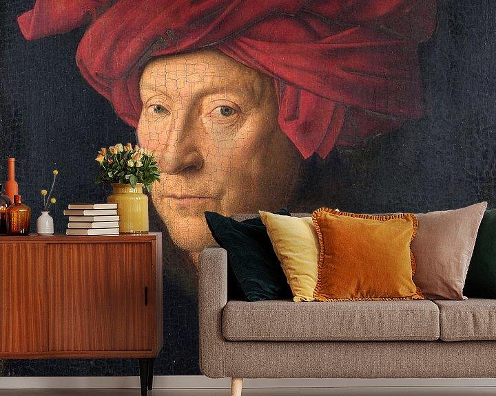 Sfeerimpressie behang: Jan Van Eyck - Portret van een man