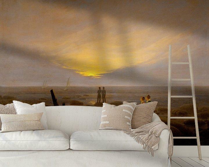 Sfeerimpressie behang: Caspar David Friedrich - Moonrise over the sea