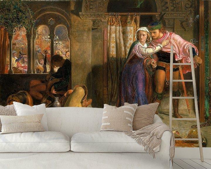 Sfeerimpressie behang: William Holman Hunt - The flight of Madeline and Porphyro