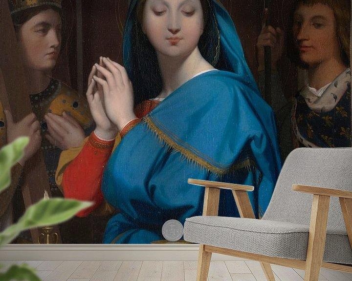 Sfeerimpressie behang: Jean Auguste Dominique Ingres -  De maagd Maria met hostie