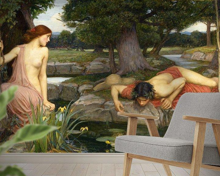 Sfeerimpressie behang: John William Waterhouse - Echo and Narcissus