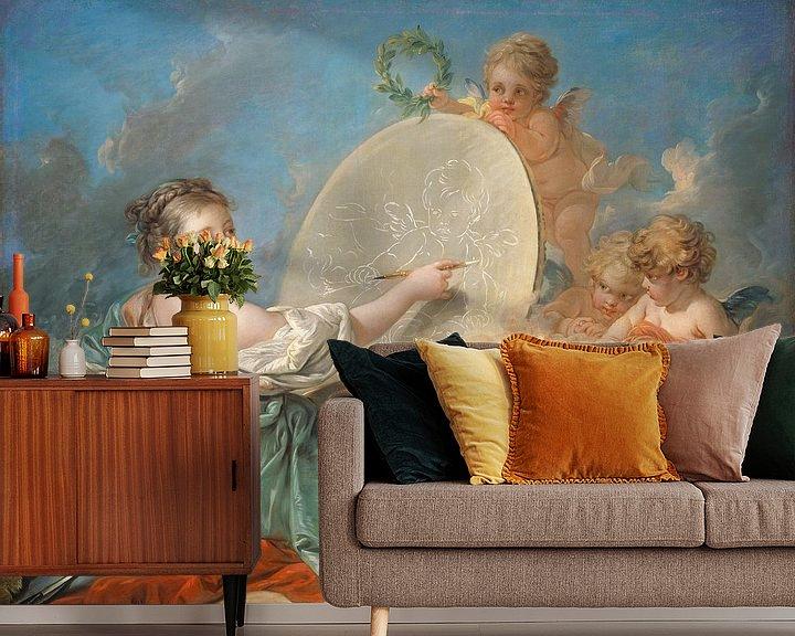 Sfeerimpressie behang: François Boucher. Allegorie van de schilderkunst