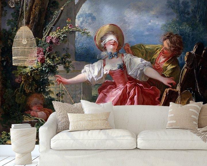 Sfeerimpressie behang: Jean-Honoré Fragonard - Blind-Man's Buff