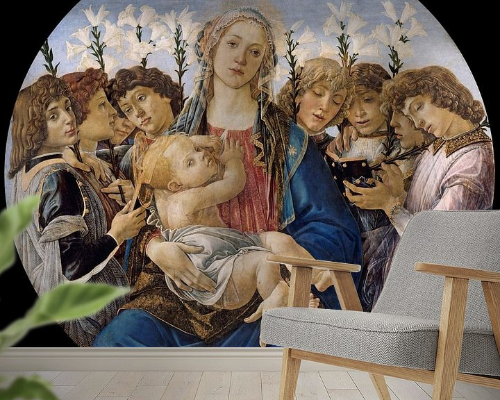 Sfeerimpressie behang: Sandro Botticelli - Mary with the Child and Singing Angels
