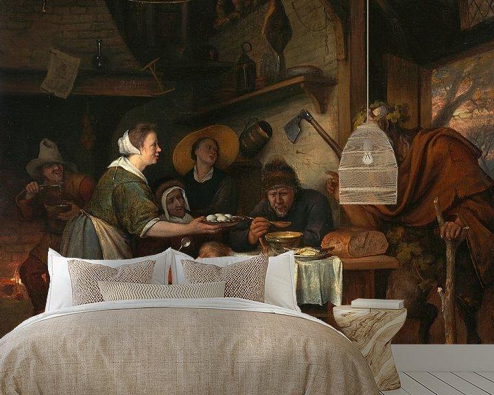 Sfeerimpressie behang: Jan Steen. De Satyr en de Boerenfamilie