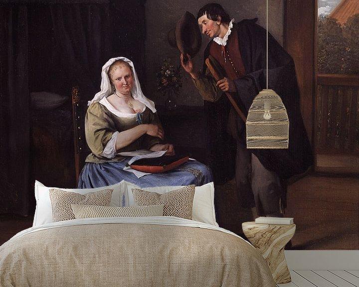 Sfeerimpressie behang: Jan Steen. De koekvrijer
