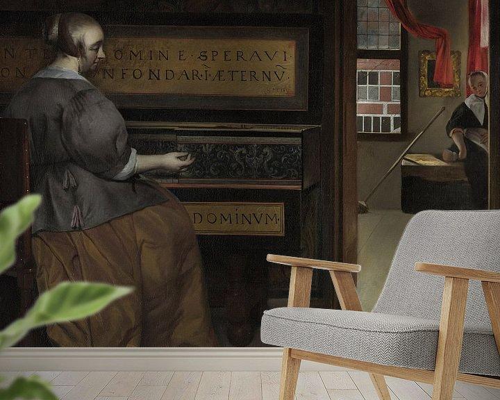 Sfeerimpressie behang: Gabriël Metsu - Dame bij een virginaal