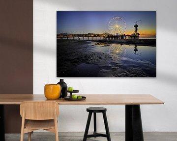 Reuzenrad op de pier van Scheveningen (1) van Jos Harpman