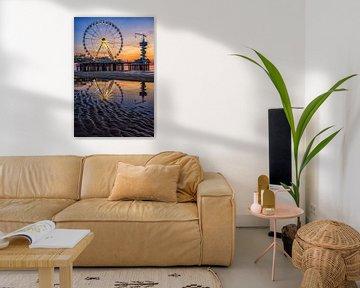 Reuzenrad op de pier van Scheveningen (3) van Jos Harpman