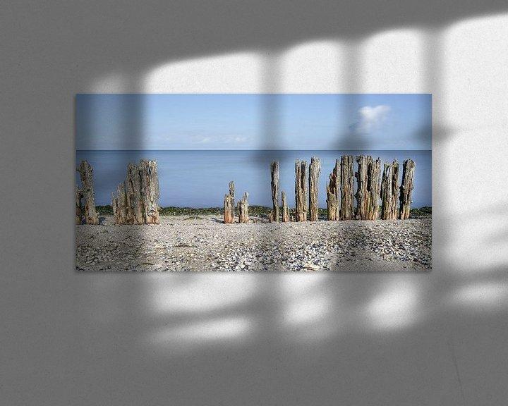 Sfeerimpressie: Golfbreker palen aan Waddenkust van Fotografie Egmond