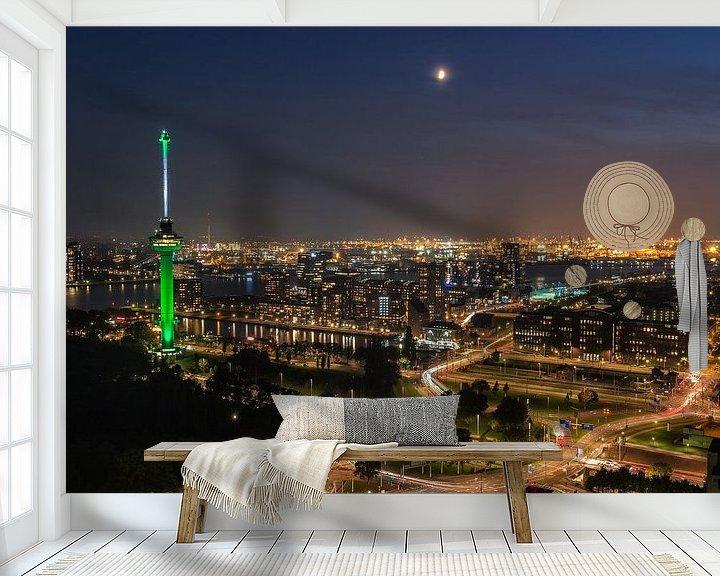 Sfeerimpressie behang: Rotterdam met euromast van Ilya Korzelius