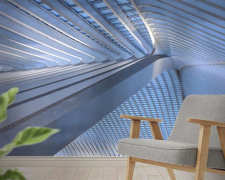 Sfeerimpressie behang: Het dak 2 van Gare Guillemins te Luik Belgie van Ernst van Voorst