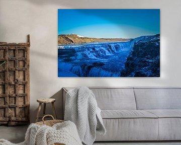 Gullfoss waterval Ijsland van Angela Worst